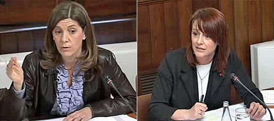 Las diputadas autonómicas María José García Cuevas (PP) y Laia Bonet (PSC) durante sus intervenciones de este miércoles (fotos: Parlamento autonómico de Cataluña).