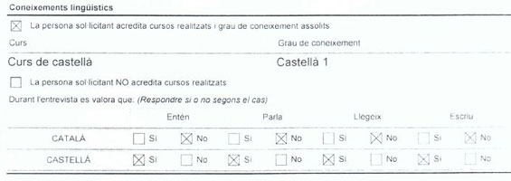 Detalle del informe de arraigo que muestra que el solicitante no conoce, lee, escribe y entiende el catalán porque no ha acudido a un curso de lengua catalana.