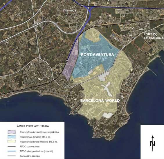 Situación prevista para el complejo Barcelona World (gráfico: gencat.cat).