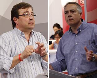 Fernández Vara y Navarro, en dos momentos de sus intervenciones en el Comité Federal del PSOE (foto: PSOE).