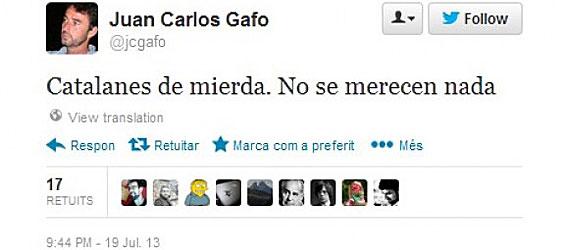 El tuit de Juan Carlos Gafo que ha supuesto su cese como director adjunto de la Oficina del Alto Comisionado del Gobierno para la Marca España.